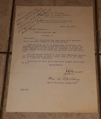 1914 BUCKEYE BEER COMPANY CITY OF TOLEDO OHIO letter to vacate PRE PROHIBITION (Party Of City)