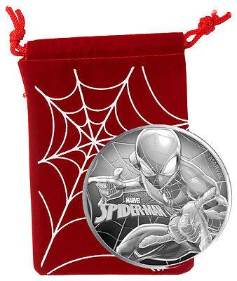 Spider Man   Marvel Series   2017 1 Oz Pure Silver Coin   Tuvalu   Perth Mint