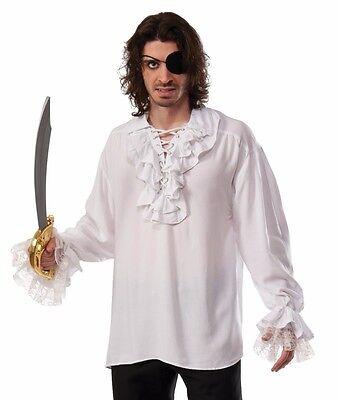 Ruffled Pirate Shirt Renaissance Colonial Gothic Dracula Poet Vampire White Fast](Ruffle Shirt Mens)
