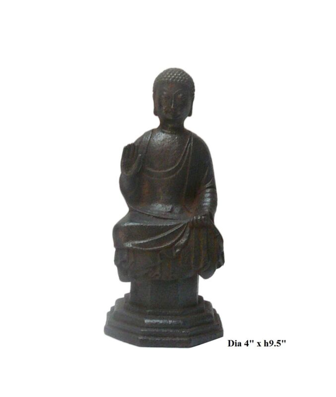 Chinese Rustic Iron Pedestal Sitting Buddha Statue cs303
