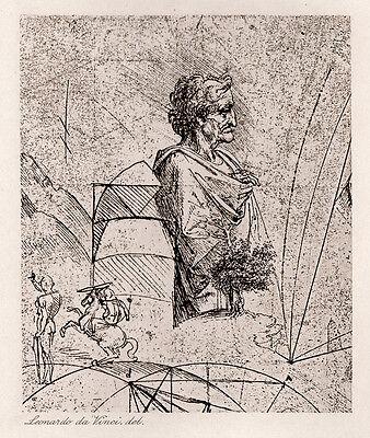 "1800s Leonardo da Vinci Antique Print ""Man in Roman Costume"" SIGNED Framed COA"