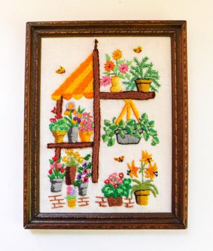 Vintage Mid Century Embroidery Picture Framed Flower Mart Stand Market