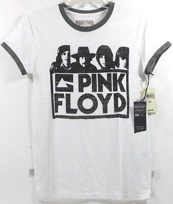 Gray Womens Pink T-shirt - Lucky Brand Pink Floyd Ringer White w/Gray Womens T-Shirt Tee Band Concert Tour