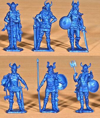 - Fontanini Vikings - 6 unpainted 70mm plastic figures in 6 poses - metallic blue