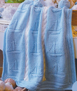Chunky Wool Boat Nautical Baby Blanket Cable Panel 36