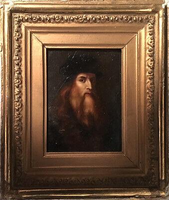 Early 19th c. Italian School Miniature Portrait of Leonardo da Vinci