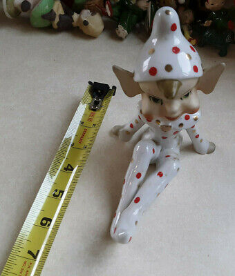 Large Vintage Elf Pixie Red Gold Polka Dot Ooutfi  Sitting Legs Outstretched