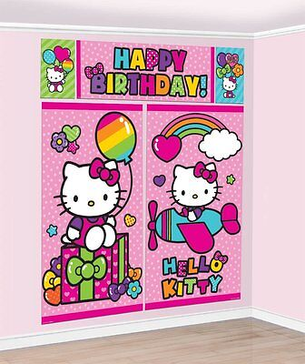 HELLO KITTY PINK DOT SCENE SETTER Wall Decoration Happy Birthday Party Backdrop