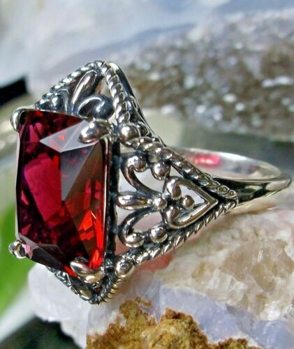 Ruby Ring,  4ct Sterling Silver Gothic Fang Filigree (Custom)