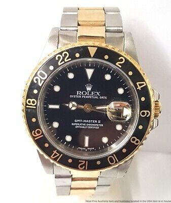 Rolex GMT Master II 16710 18K Gold Steel Two Tone Mens Watch