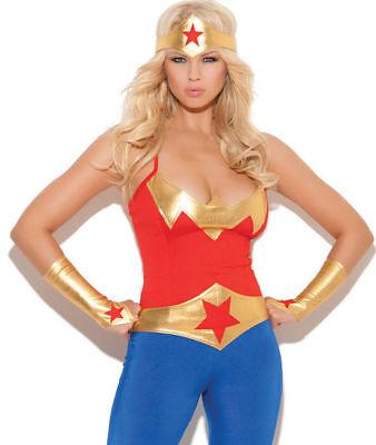 Super Hero Wonder Woman 5pc Costume Cami Pants Belt Gloves Head Piece S-XL - Female Super Heroe