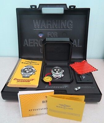 Breitling	A7332211 Emergency Mission Men's Watch Black Dial/SS w/Box & Papers
