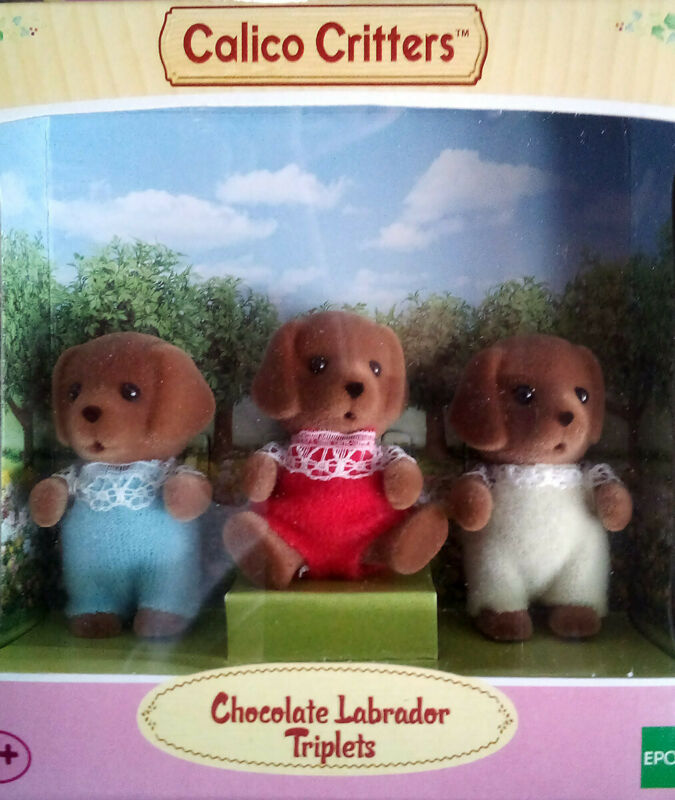 Calico Critters CC1452 Chocolate Labrador Triplets new in box Sylvanian Families