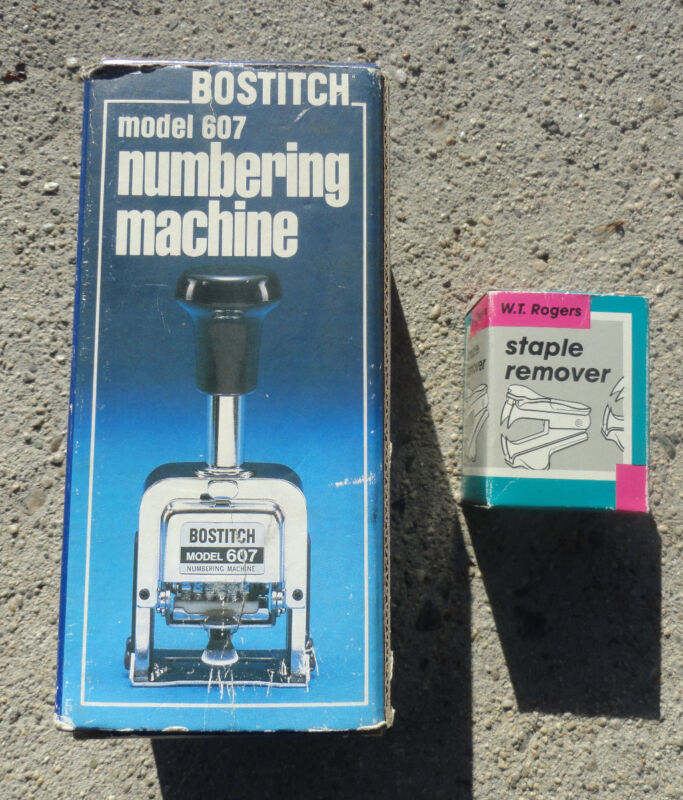 Vintage Bostitch Numbering Machine Model 607 with stapler remover