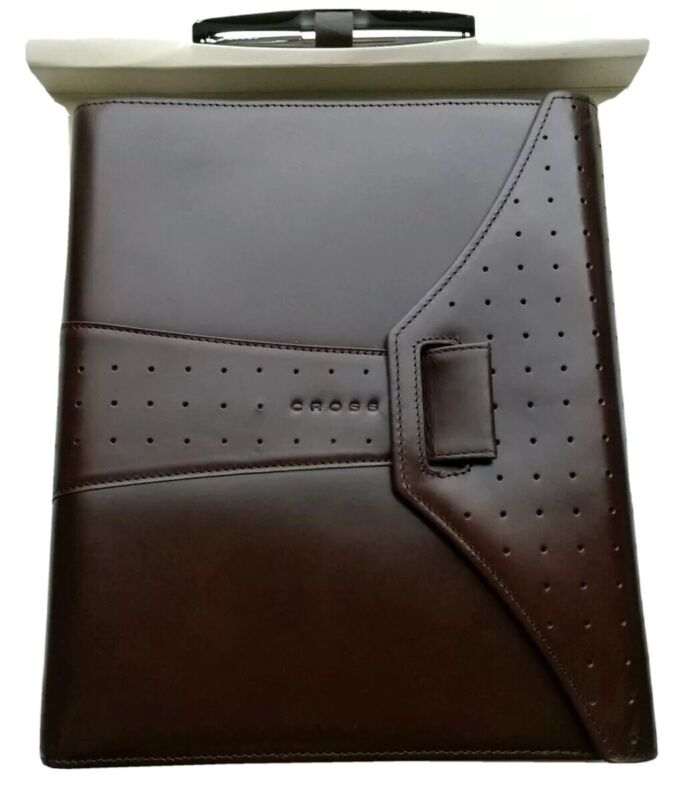 NEW! Cross Autocross Medium Brown Leather Agenda & Pen Boxed Set  AC133-2