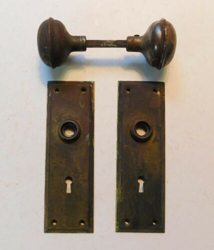 Antique Vintage Mission Metal Door Knobs Plates