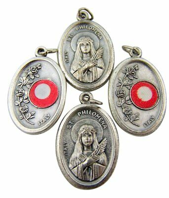 Saint Philomena Silver Tone Medal with 3rd Class Cloth Relic, Lot of 4, 1 (Division 4 Clothing)