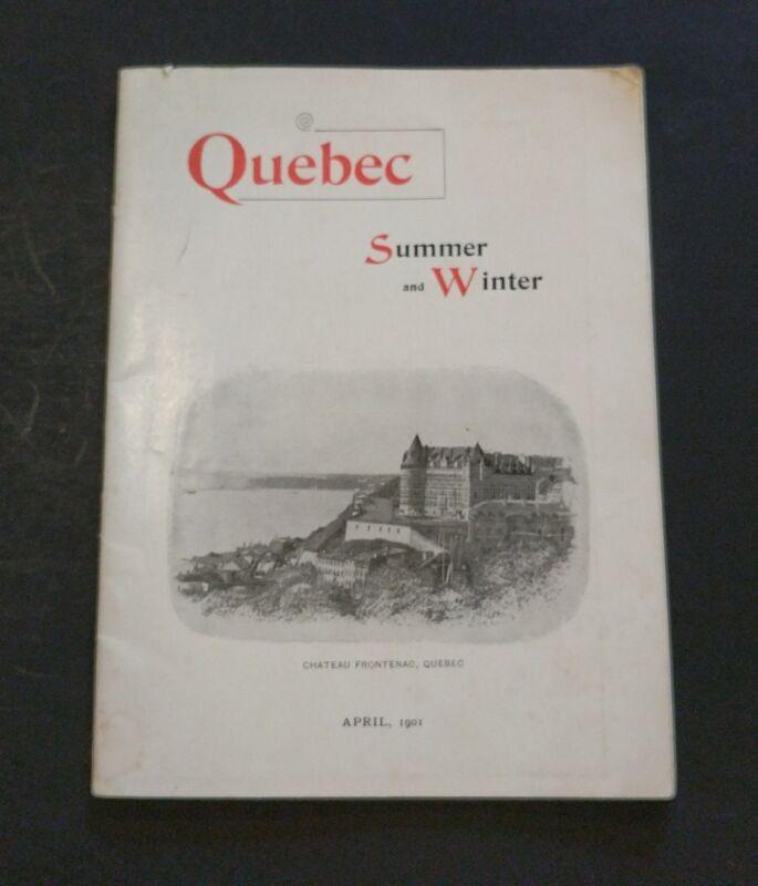 1901 Brochure QUEBEC Canada Summer & Winter + Map Canadian Pacific Railway Train