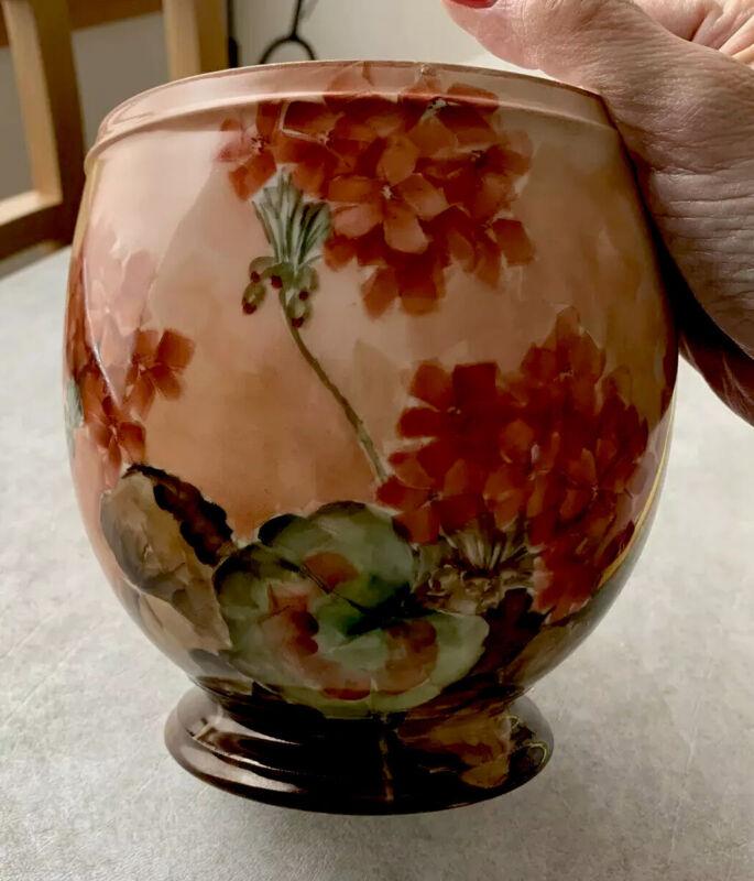 Geranium Pot, Handpainted, 1902