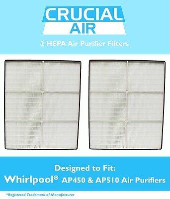 2 REPL Whirlpool/Whispure AP450 AP510 1183054 1183054K HEPA Air Purifier Filters