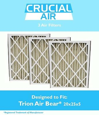 3 Replacements Trion 255649-102 Pleated Furnace Air Filters 20x25x5 MERV 8