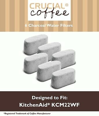 6 KitchenAid Charcoal Coffee Filters Fit KCM222 & KCM223, Part # KCM22WF NEW