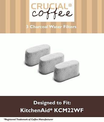 3 KitchenAid Charcoal Coffee Filters Fit KCM222 & KCM223, Part # KCM22WF NEW