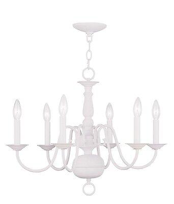 Livex 6 Light Williamsburg White Chandelier Ceiling Lighting Fixture 5006-03