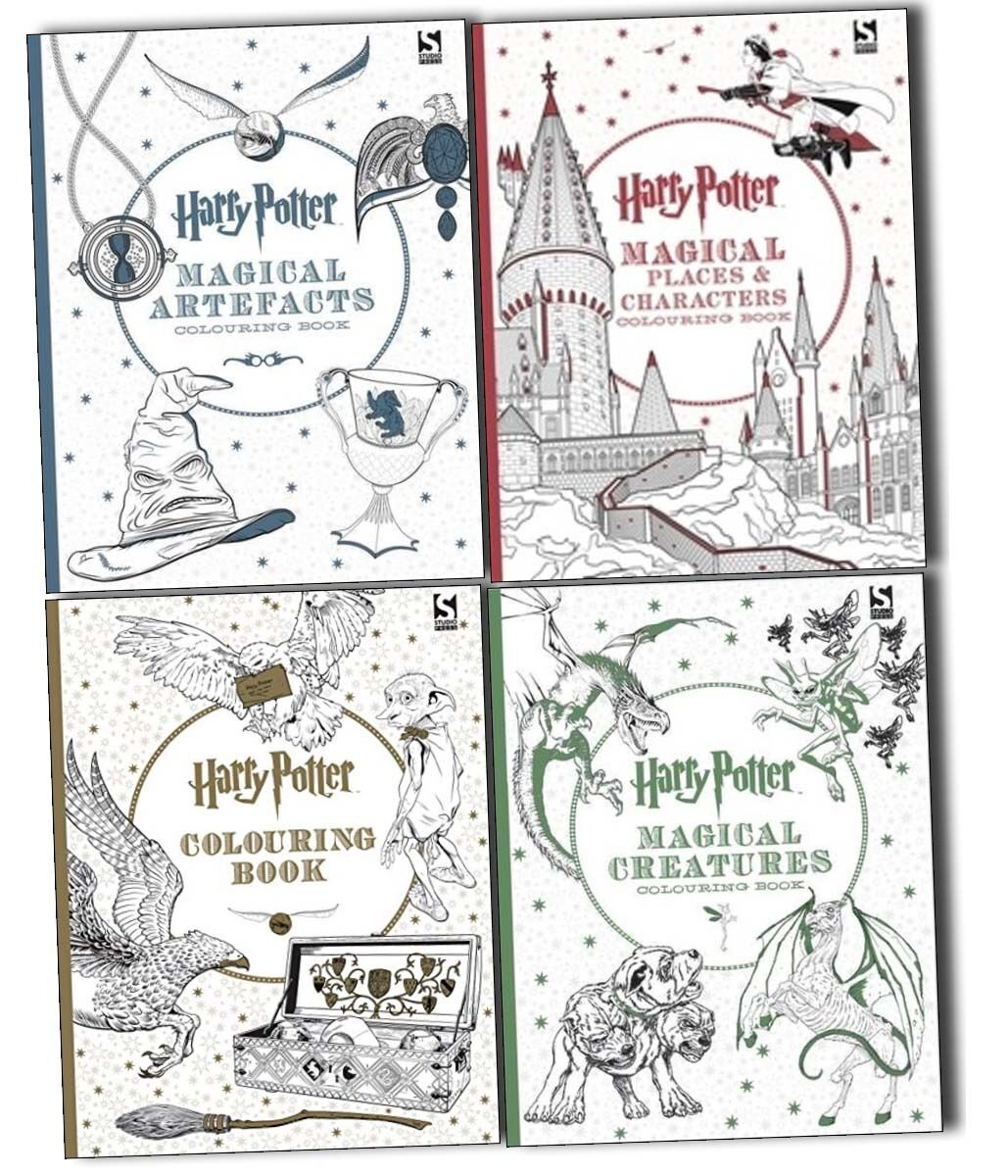 Harry Potter 4 Colouring Books Collection Set Magical Artefacts And Places New Ebay