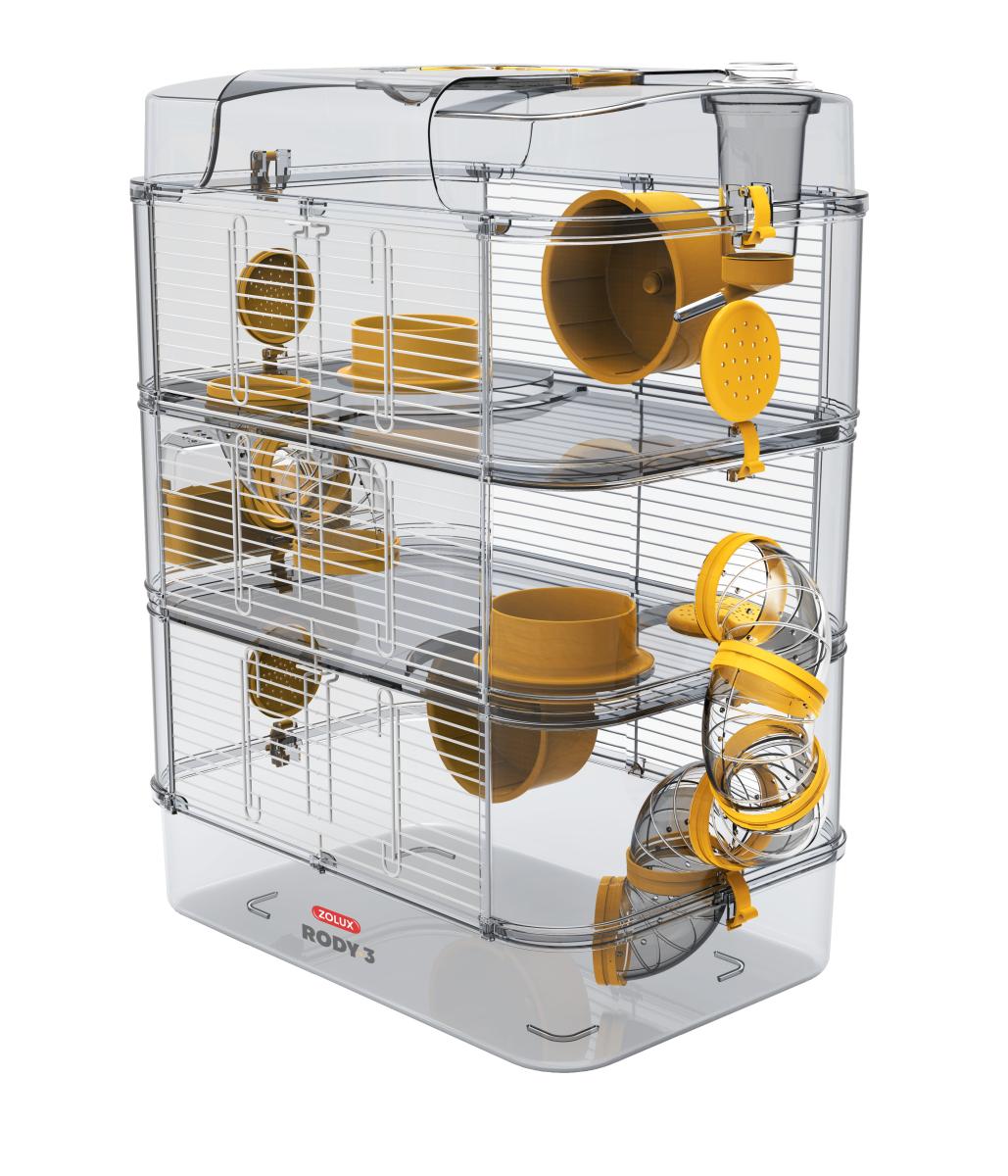 Zolux RODY3 TRIO Gelb Käfig für Kleintiere Hamsterkäfig Kleintierkäfig