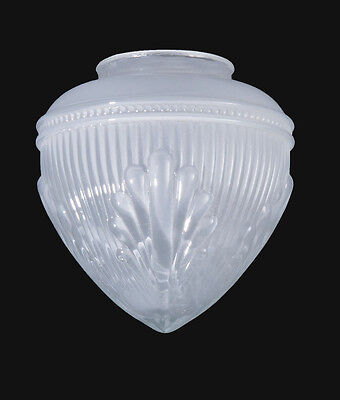 """3-1/4""""FITTER FROSTED ART DECO LIGHT LAMP SHADE GLOBE with SHELL & RIBBED PATTERN"""