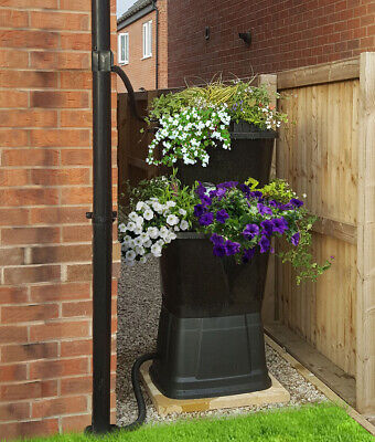 Rainwater Terrace 2 Tier Black Water Butt with Planters - 134 Litres