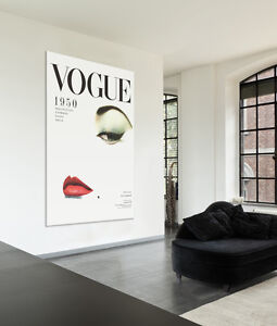 Stretched-Canvas-Art-Print-3-Large-Sizes-French-Vintage-Poster-1950-Vogue-Cover