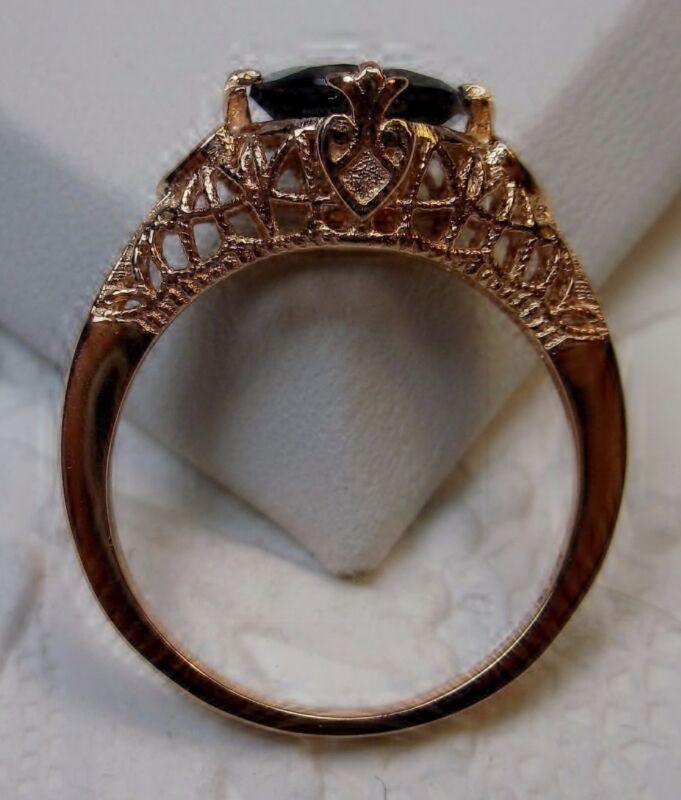 Deco/Victorian Natural Garnet Silver & Rose Gold Filigree Ring {Made To Order}