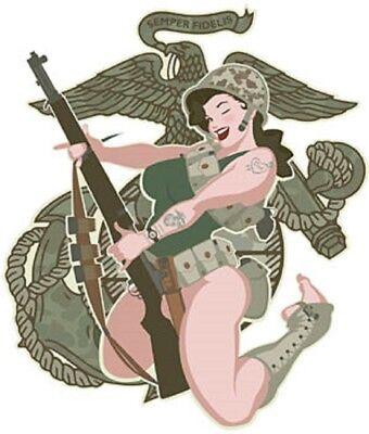 Sexy Military Chick WW II Marine Semper Fi Eagle Tattoos Vinyl Sticker Rare OOP