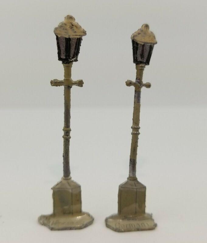 Vintage Heinrichsen German Flat Lead Gas Lamps Hand Painted Unique
