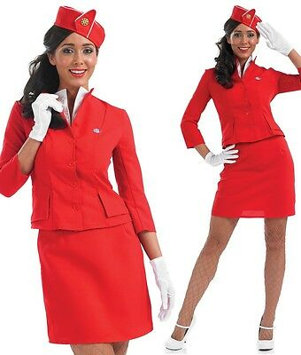 Damen Sexy Luft Stewardess Hostess Kostüm Kleid Outfit UK 8-26 - Stewardess Kostüm Übergröße