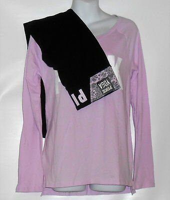 Victoria's Secret Pink Lace Trim Yoga Leggings & Long Sleeve Open Neck Tee S NWT