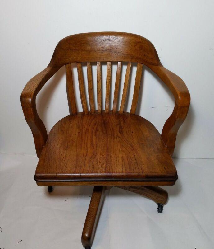 Antique Boling Chair Co Walnut Wood Swivel Banker Office Chair Gunlocke Style