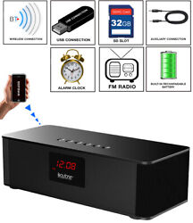 Boytone BT-87CR Portable FM Radio Alarm Clock, Wireless Bluetooth 4.1 Speaker