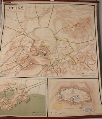 Historical Schulwandkarte Role Map Wall Chart Athens Greece Leipzig Old
