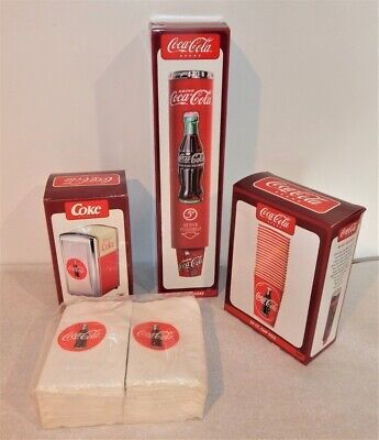 Coca Cola Soda Brand Cup Dispenser W/ Cups & Napkin Dispenser W/Napkins