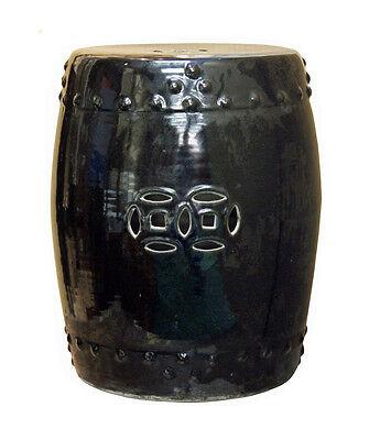 (Oriental Double Coin Pattern Black Porcelain Round Stool cs2419)
