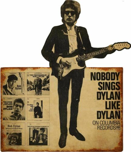 BOB DYLAN ON COLUMBIA MUSIC RECORDS HEAVY DUTY USA MADE METAL ADVERTISING SIGN