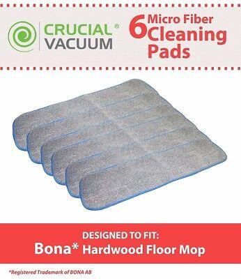 6 Replacements Bona Hardwood Floor Micro Fiber Cleaning Pads Part # AX0003053