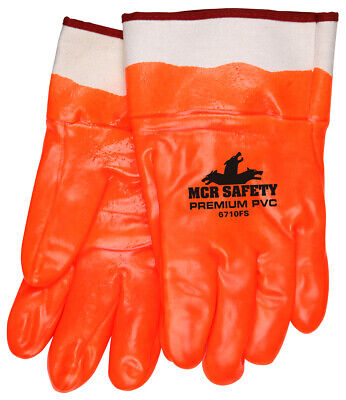 12 Pairs Mcr Safety Premium Foam Lined Pvc Coated Work Gloves - Large