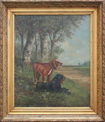 Landschaft mit Jagdhunden Ölgemälde, um 1900  signiert B.A.John