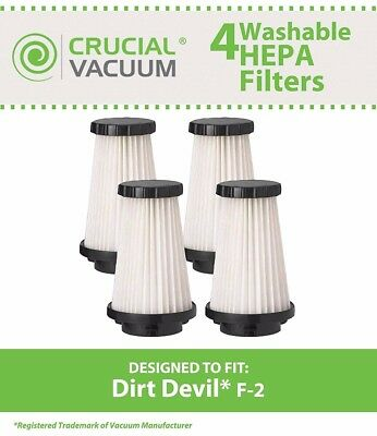 4 Replacements Dirt Devil F2 Washable HEPA Filters Part #3SFA11500X 2SFA115000
