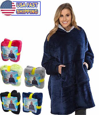 Soft Sweatshirt Hoodie Sherpa Fleece Blanket Large Pocket Reversible Seen On (Soft Reversible Blanket)