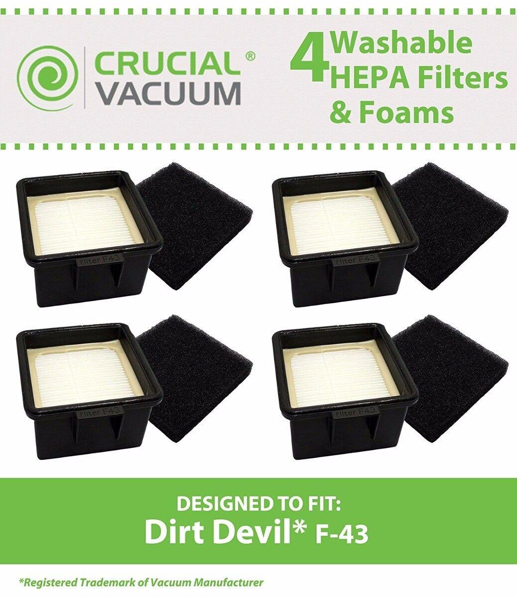 4 replacements dirt devil f43 bagless hepa